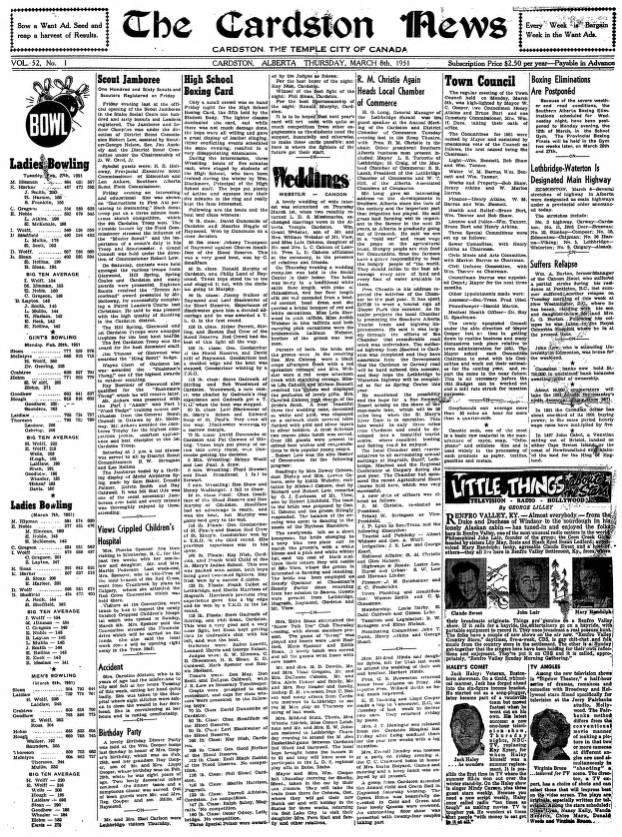 Cardston News (March 8, 1951) - Southern Alberta Newspaper