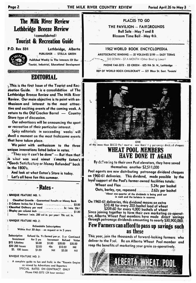 Milk River Review (April 26, 1961) - Southern Alberta