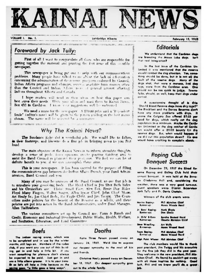 Kainai News February 15 1968
