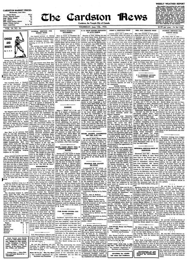 Cardston News (June 15, 1933) - Southern Alberta Newspaper ... on temple tx newspaper, temple dog shelter, temple animal shelter, temple lake park address, temple wildcats football,