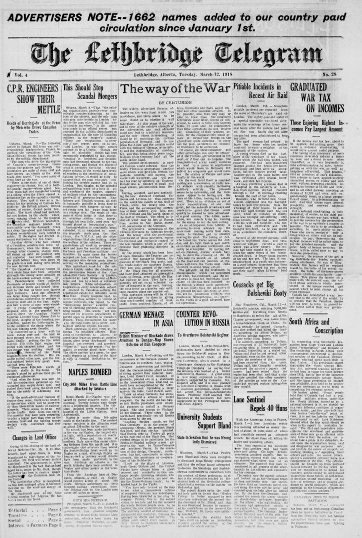 page 01 - Southern Alberta Newspaper Collection - University of