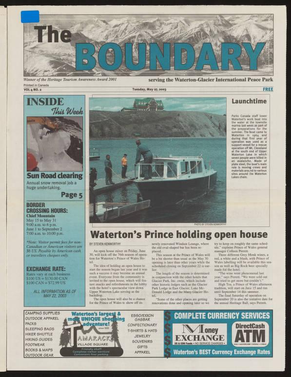The Boundary (May 27, 2003) - Southern Alberta Newspaper