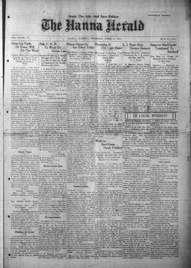 Hanna Herald - Southern Alberta Newspaper Collection