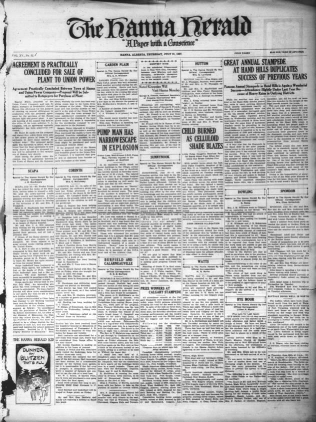 Hanna Herald Southern Alberta Newspaper Collection University Of